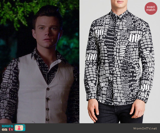 Alexander McQueen Razor Print Shirt worn by Chris Colfer on Glee