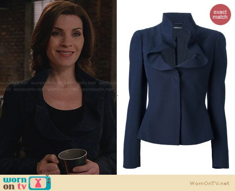 Alexander McQueen Ruffle Collar Jacket worn by Julianna Margulies on The Good Wife