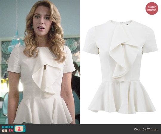 Alexander McQueen Ruffle Front Peplum Top worn by Yael Grobglas on Jane the Virgin
