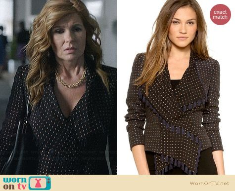 Alexander McQueen Scarf Jacket in Nero worn by Connie Britton on Nashville