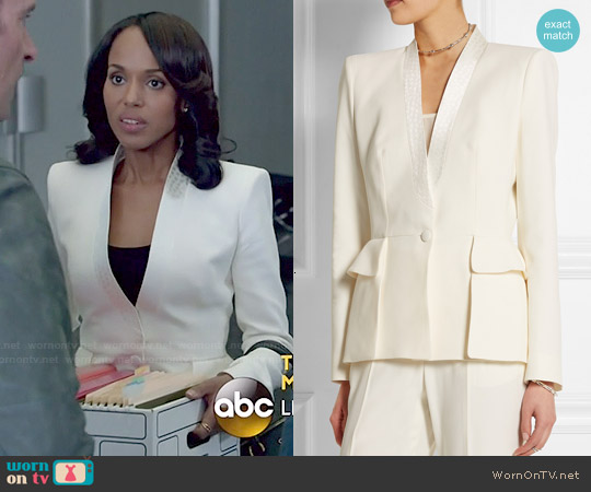 Alexander McQueen Silk Jacquard-Trimmed Crepe Blazer worn by Kerry Washington on Scandal