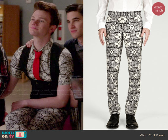 Alexander McQueen Stained Glass Print Pants worn by Kurt Hummel on Glee