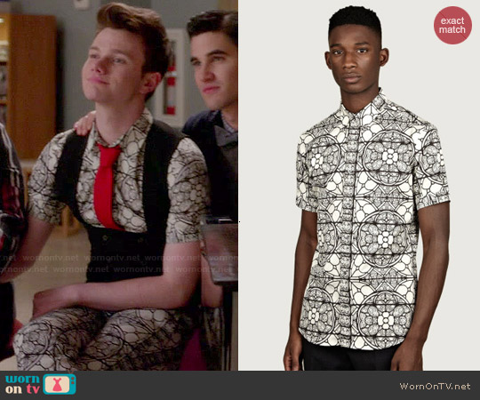 Alexander McQueen Stained Glass Print Shirt worn by Chris Colfer on Glee