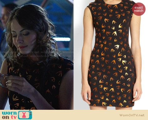 Alexander McQueen Swallow Print Bodycon Dress worn by Willa Holland on Arrow