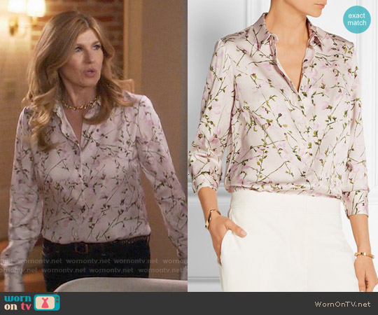 Alexander McQueen Sweet Pea Printed Silk-satin Shirt worn by Rayna Jaymes on Nashville