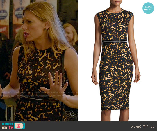 Alexander McQueen Printed Bodycon Zip Dress worn by Jes Macallan on Mistresses
