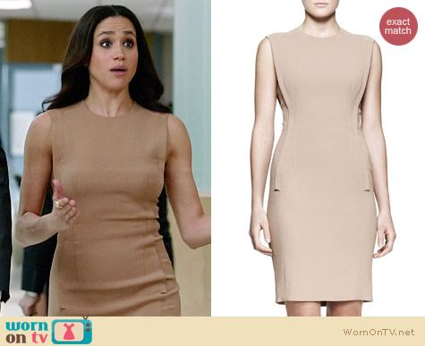Alexander Wang Exposed Dart Dress in Truffle worn by Meghan Markle on Suits