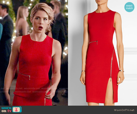 Alexander Wang Zip Detailed Stretch Knit Dress worn by Emily Bett Rickards on Arrow