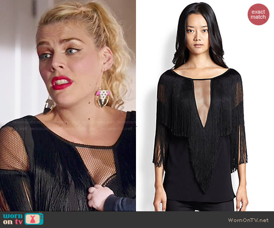 Alexis Demitri Fringe-Trimmed Mesh-Paneled Top worn by Busy Philipps on Cougar Town