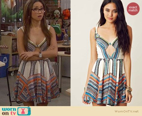 Alexis Barbara blue Tai Tribal Dress with Keyhole worn by Brenda Song on Dads
