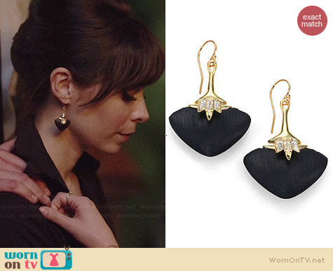 Alexis Bittar Kinshasa Lucite & Crystal Baguette Flint Drop Earrings worn by Cristin Milioti on A to Z