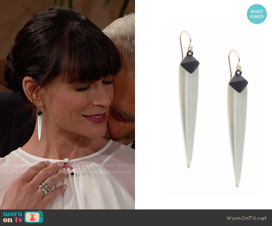 Alexis Bittar Lucite Spear Linear Drop Earrings worn by Quinn Fuller on The Bold & the Beautiful
