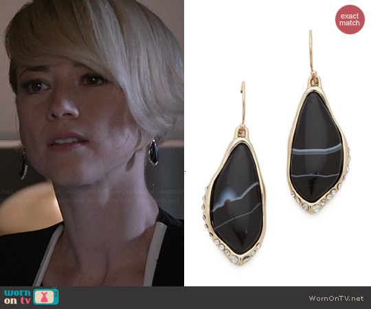 Alexis Bittar Infinity Drop Earrings worn by Karine Vanasse on Revenge