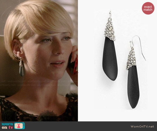 Alexis Bittar Lucite Winter Deco Earrings worn by Karine Vanasse on Revenge