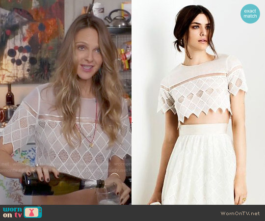 Alexis Diamond Crochet Crop Top worn by Beau Garrett on GG2D