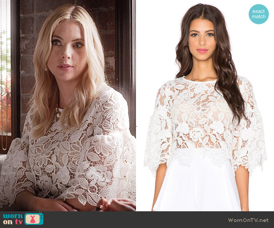Alexis Valery Bell Sleeve Crop Top worn by Ashley Benson on PLL