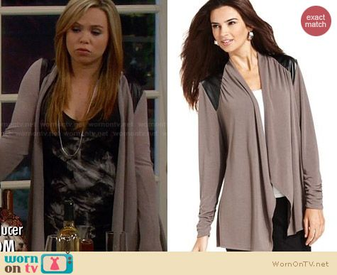 Alfani Leather Shoulder Cardigan worn by Amanda Fuller on Last Man Standing