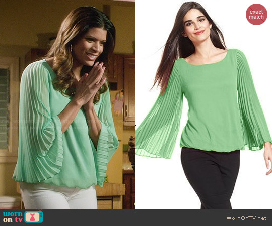 Alfani Pleat-Sleeve Blouson Top worn by Andrea Navedo on Jane the Virgin