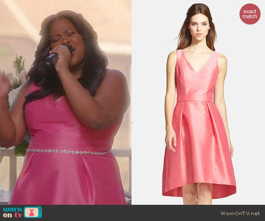 Alfred Sung V-neck High Low Dress in Papaya worn by Amber Riley on Glee