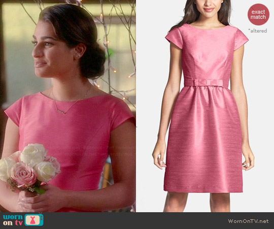 Alfred Sung Woven Fit & Flare Dress in Papaya worn by Rachel Berry on Glee