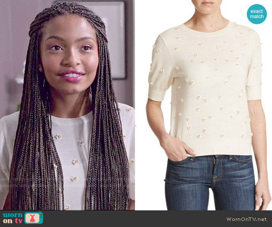 Alice + Olivia Abi Embellished Wool Sweater in Cream worn by Yara Shahidi on Blackish