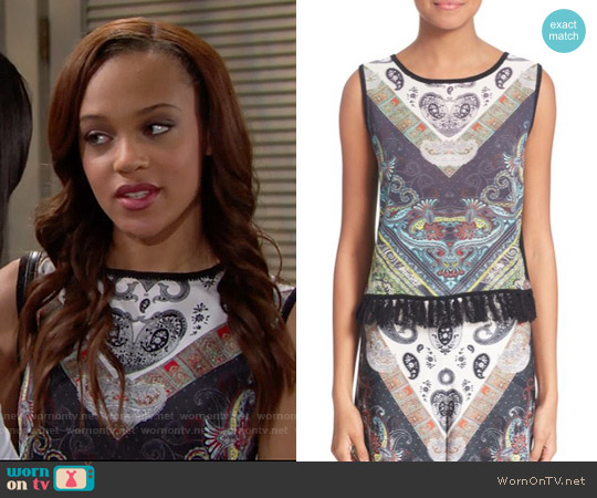 Alice & Olivia Annalea Top worn by Reign Edwards on The Bold & the Beautiful