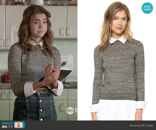 Alice & Olivia Fitted Collar Sweater worn by Maia Mitchell on The Fosters