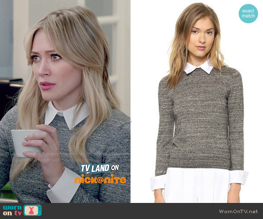 Alice & Olivia Fitted Collar Sweater worn by Hilary Duff on Younger