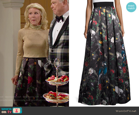 Alice & Olivia Pleated Floral Ball Skirt in Charmed Forest worn by Alley Mills on The Bold & the Beautiful