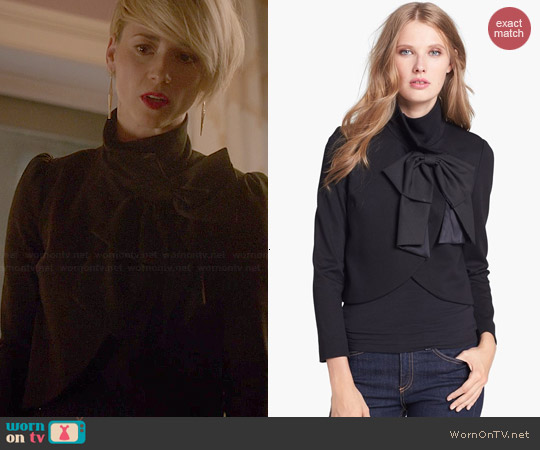 Alice & Olivia Addison Bow Jacket worn by Karine Vanasse on Revenge