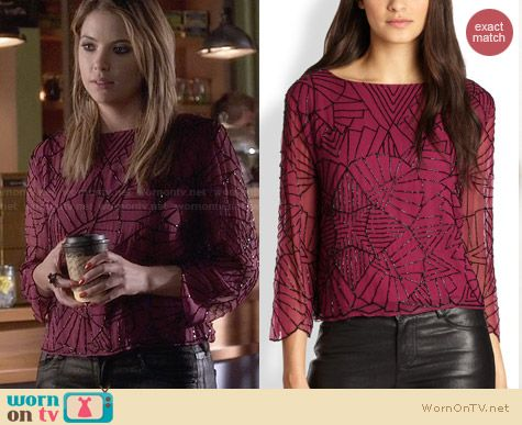 Alice & Olivia Adeline Embellished Top worn by Ashley Benson on PLL
