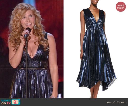 Alice + Olivia Alessandra Pleated Metallic Asymmetric Gown worn by Connie Britton on Nashville