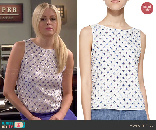 Alice & Olivia Ama Embellished Boat-neck Tank worn by Justine Lupe on Cristela