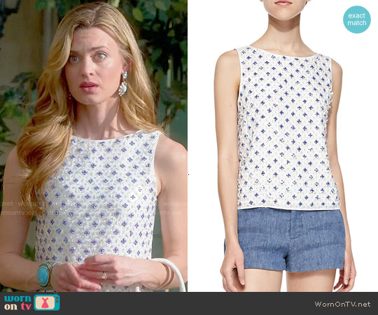 Alice & Olivia 'Ama' Embellished Top worn by Brooke D'Orsay on Royal Pains