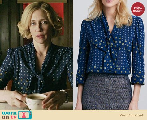 Alice & Olivia Arie Blouse worn by Vera Farmiga on Bates Motel