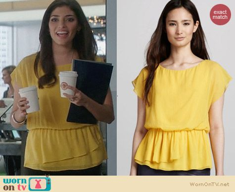 Alice + Olivia Becker Top in Honey Yellow worn by Amanda Setton on The Crazy Ones