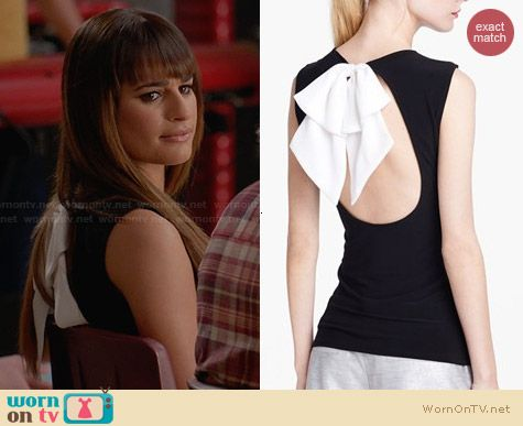 Alice & Olivia Belle Bow Detail Open Back Top worn by Lea Michele on Glee