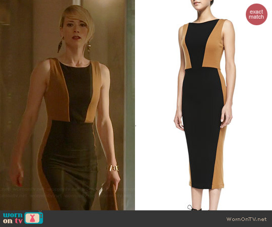 Alice & Olivia Blaze Colorblock Sheath Dress worn by Karine Vanasse on Revenge