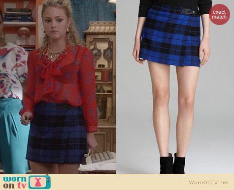 Alice + Olivia Blue Weston Plaid Mini Skirt worn by AnnaSophia Robb on The Carrie Diaries