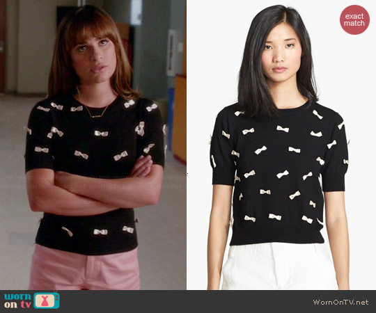 Alice + Olivia Bow Detail Sweater worn by Lea Michele on Glee