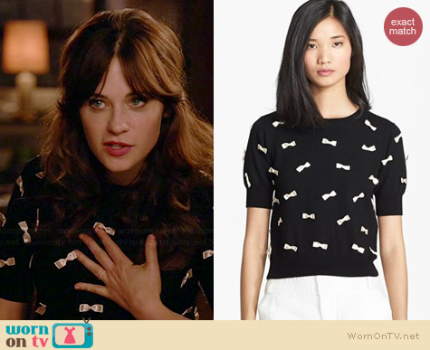 Alice + Olivia Bow Detail Sweater worn by Zooey Deschanel on New Girl