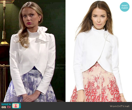 Alice + Olivia Bow Neck Cropped Jacket worn by Melissa Ordway on The Young & the Restless