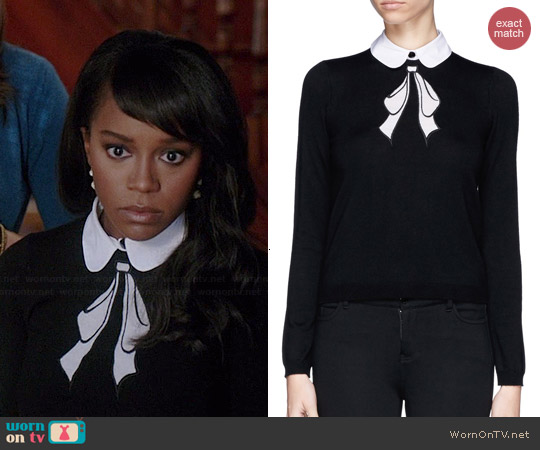 Alice & Olivia Ribbon Bow Sweater worn by Aja Naomi King on HTGAWM