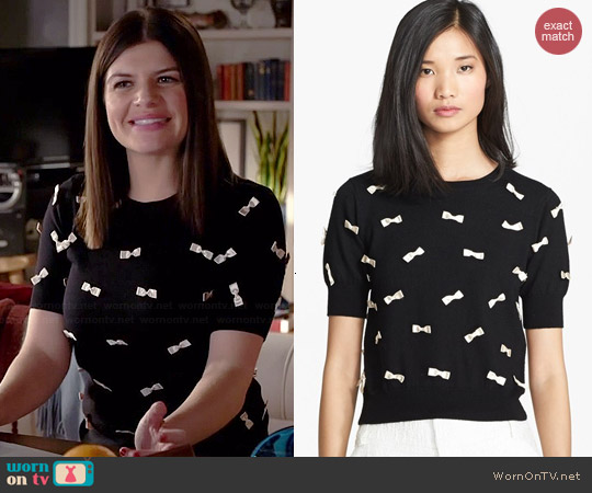Alice & Olivia Bow Detail Sweater worn by Casey Wilson on Marry Me