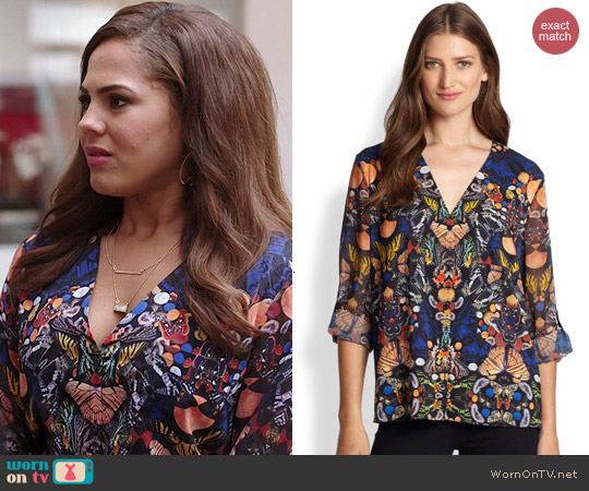 Alice & Olivia Butterfly Blouse worn by Lenora Crichlow on A to Z