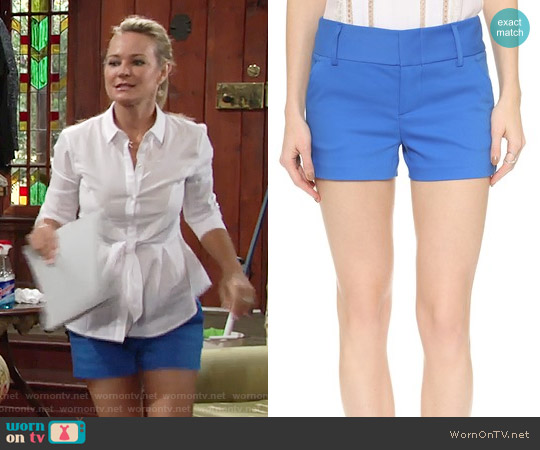 Alice + Olivia Cady Shorts in Blue worn by Sharon Collins on The Young & the Restless