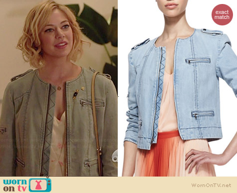 Alice & Olivia Cam Denim Jacket worn by Analeigh Tipton on Manhattan Love Story
