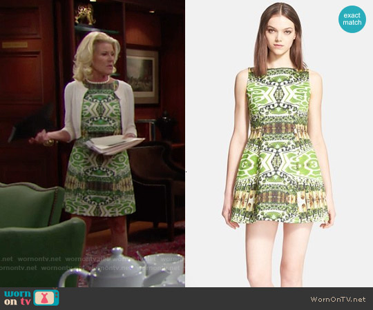 Alice & Olivia 'Carrie' Dress in Mirrored Garden worn by Alley Mills on The Bold & the Beautiful