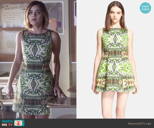 Alice & Olivia Carrie Dress in Mirrored Garden worn by Lucy Hale on PLL
