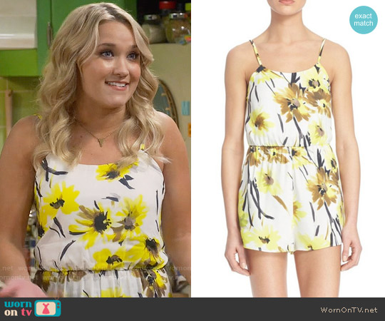 Alice & Olivia Cassia Romper in Daisy worn by Emily Osment on Young & Hungry